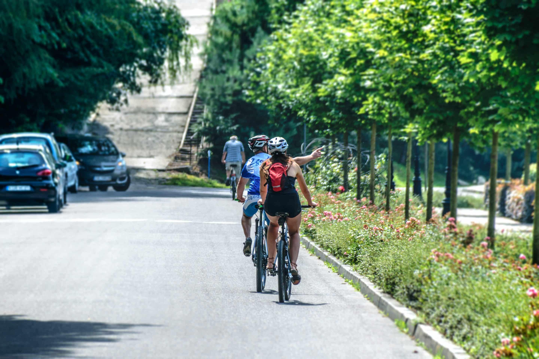 riding a bike in Berlin